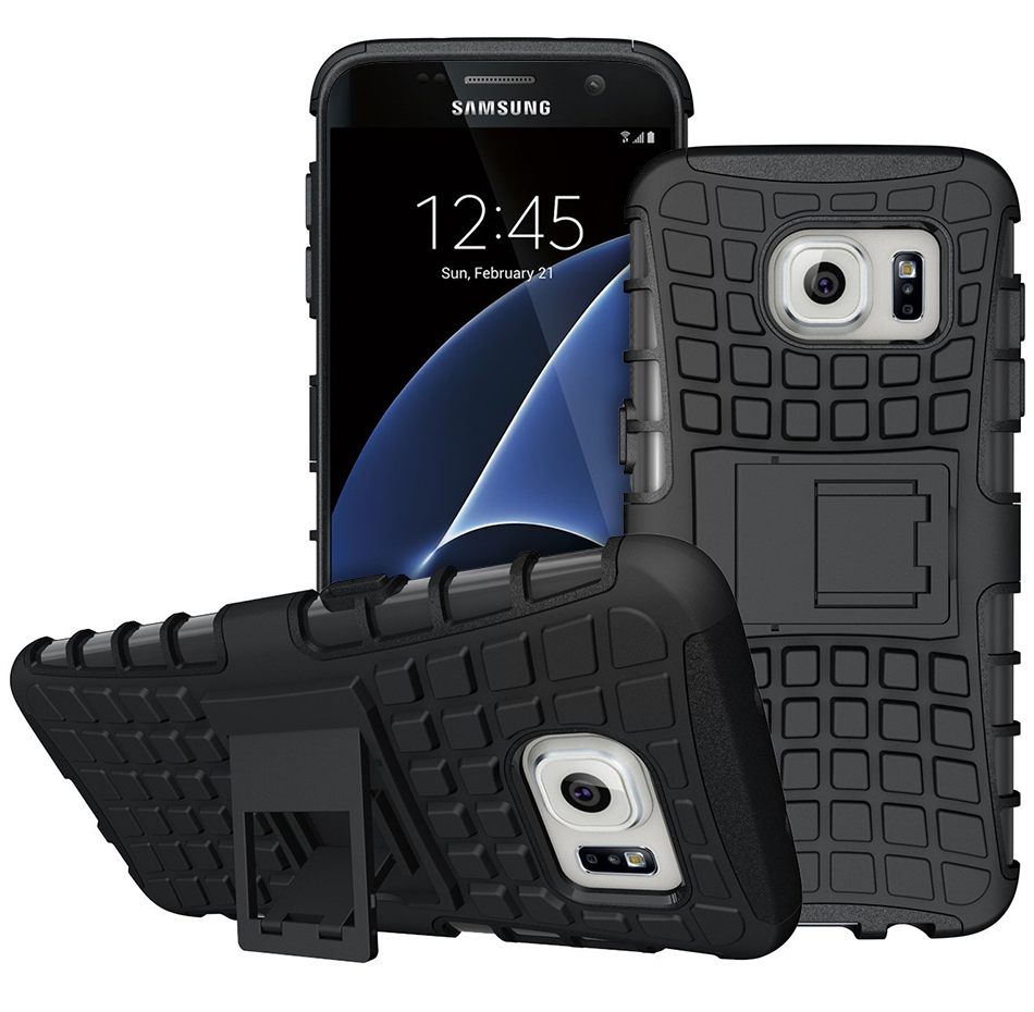 Dual Layer Rugged Tough Shockproof Case For Samsung Galaxy S7   Black