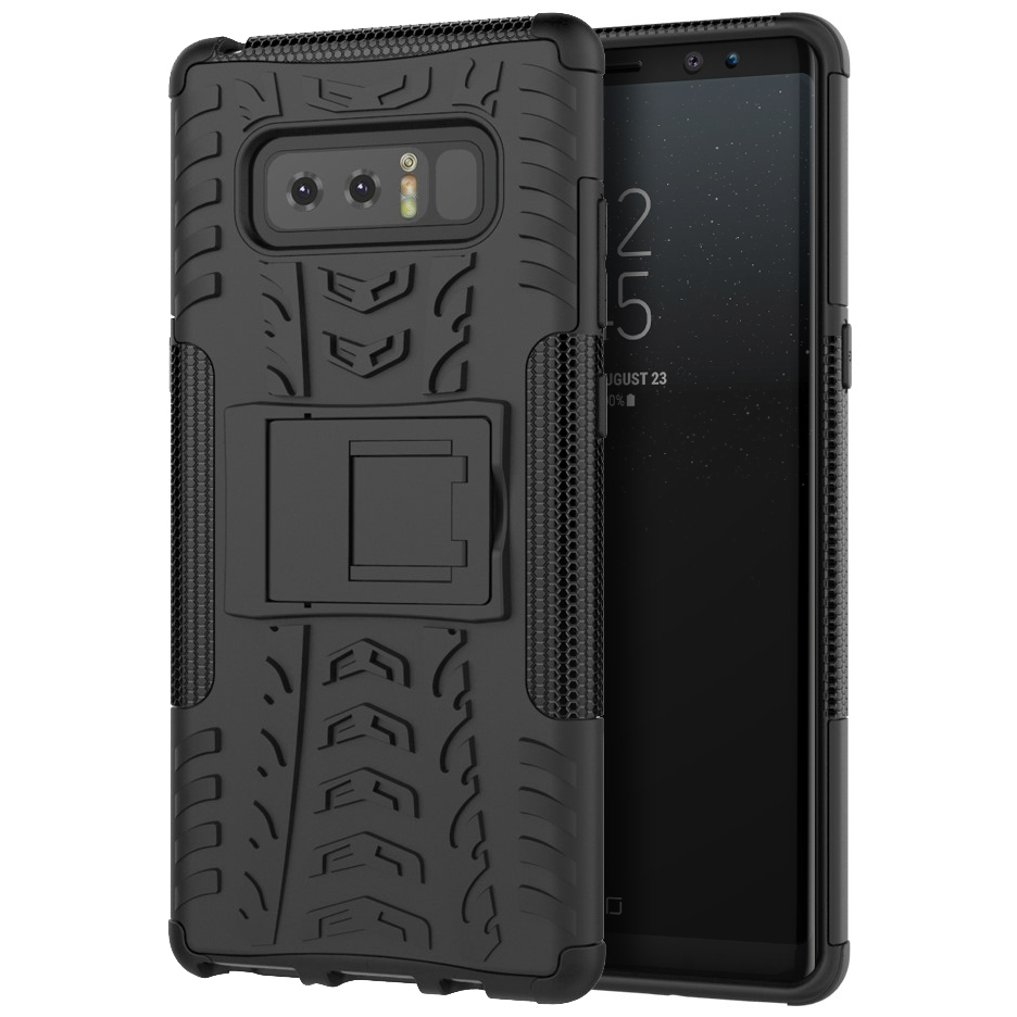 Dual Layer Rugged Shockproof Case For Samsung Galaxy Note 8   Black