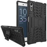 Dual Layer Rugged Tough Shockproof Case for Sony Xperia XZ - Black