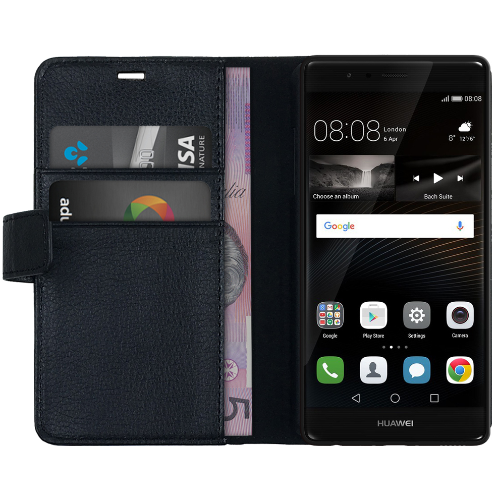 huawei p9 grey. leather wallet flip case \u0026 card holder pouch for huawei p9 - black grey