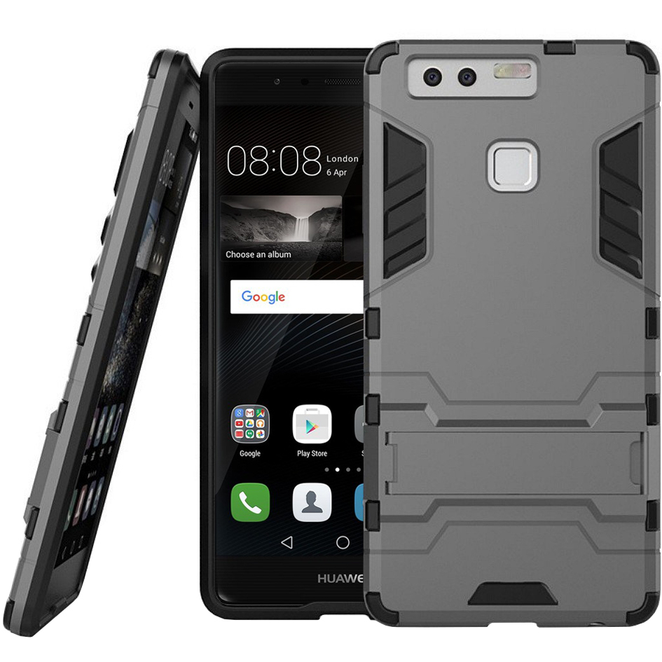 huawei p9 grey. slim armour rugged tough shockproof case for huawei p9 - silver grey