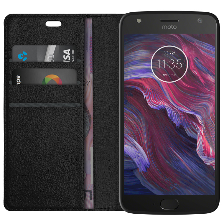 motorola x4. leather wallet \u0026 card slot holder case for motorola moto x4 - black