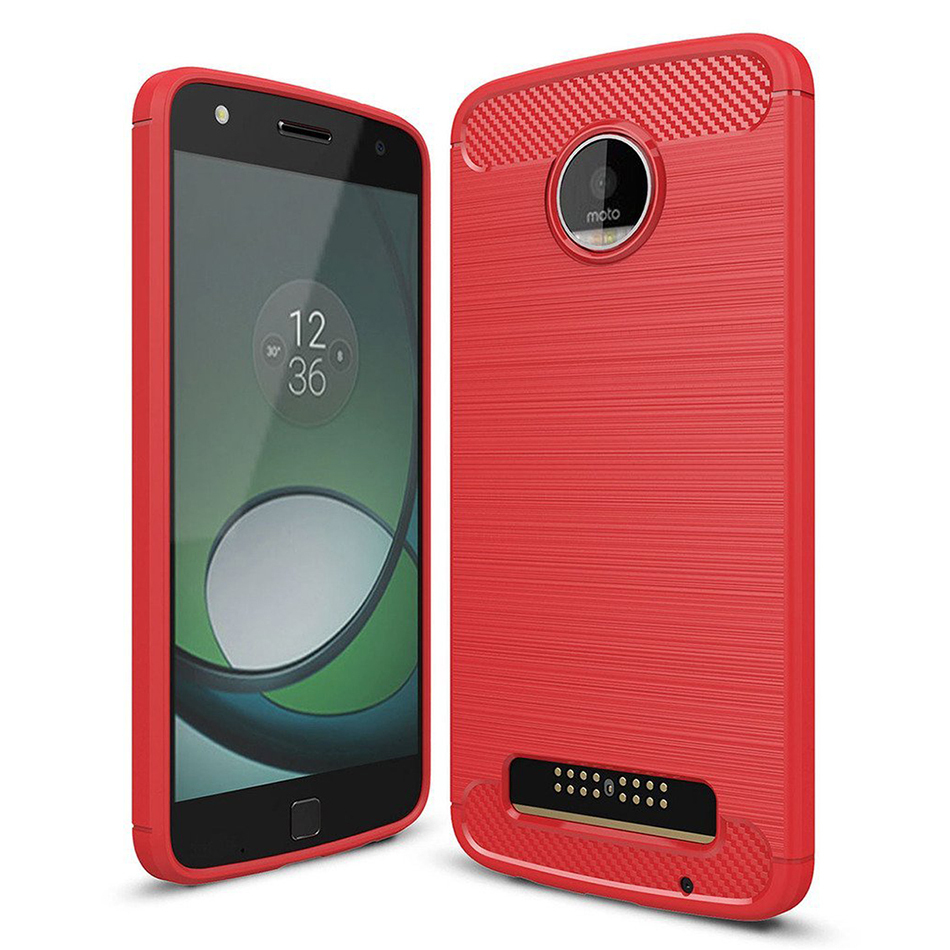 motorola moto z. flexi slim carbon fibre tough case for motorola moto z play - red