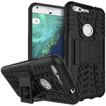"Dual Layer Rugged Tough Case for Google Pixel 5"" Phone - Black"