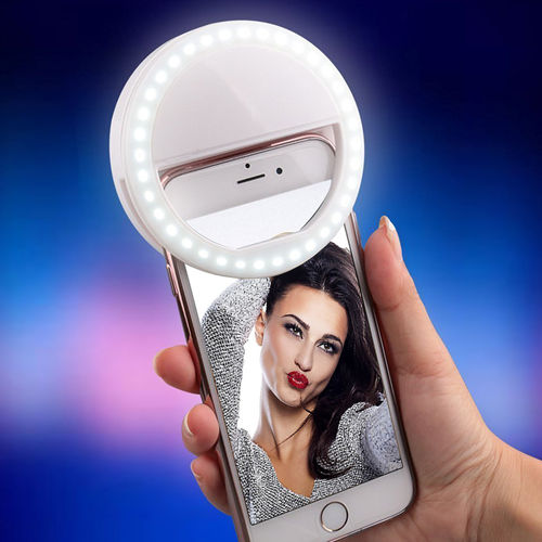 LED Ring Selfie Light Clip & Brightness Control for Phones - White