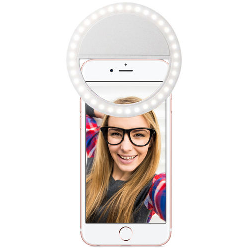 Rechargeable Clip-On Bright LED Ring Selfie Light for Phones
