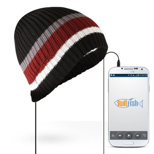 TwitFish Winter Beanie Hat with Stereo Headphones - Black Striped