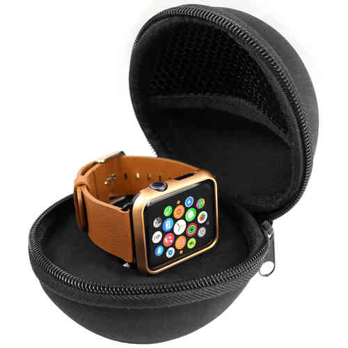 Orzly Travel Vault Pouch (Zipper Lock Bag) for Apple Watch - Black