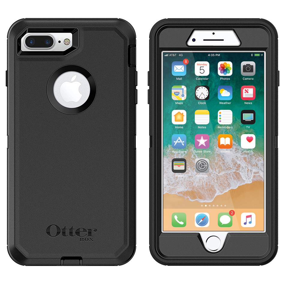 otterbox defender case apple iphone 8 plus 7 plus black. Black Bedroom Furniture Sets. Home Design Ideas