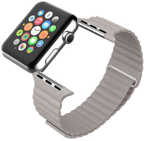 Leather Loop Band with Magnetic Strap for Apple Watch 38mm - Grey