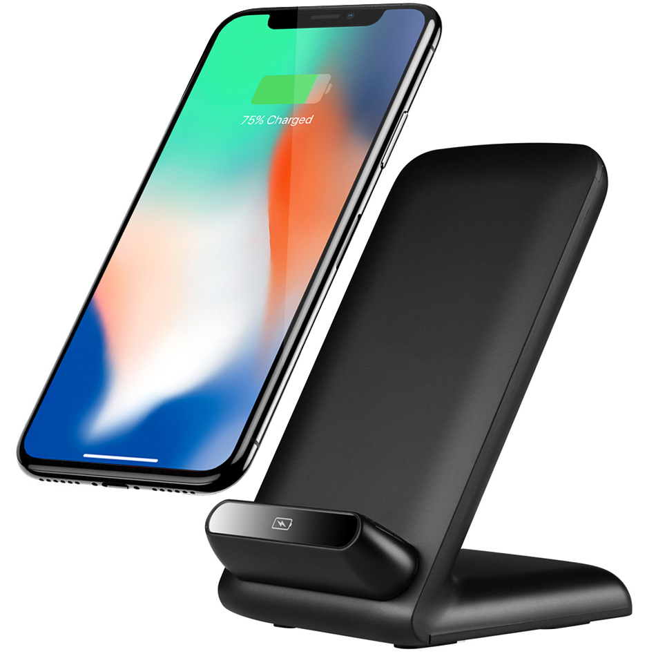 10w qi fast wireless charging stand for apple iphone x 8. Black Bedroom Furniture Sets. Home Design Ideas