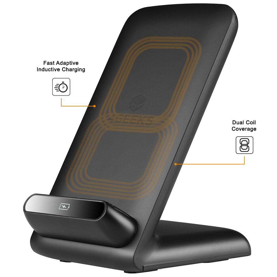 fast adaptive qi wireless charger dock charging stand. Black Bedroom Furniture Sets. Home Design Ideas