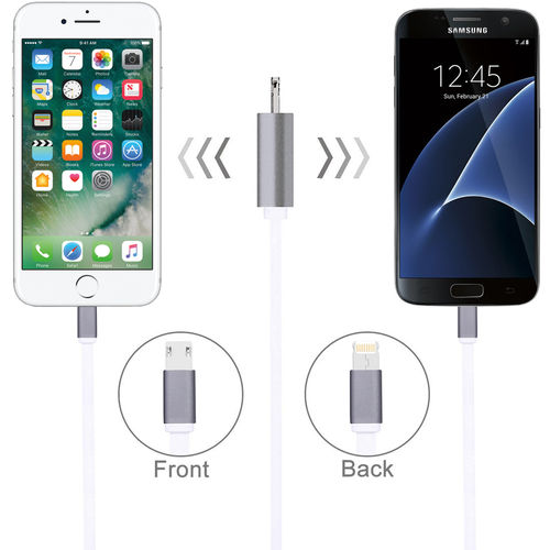 1m Haweel 2-in-1 Flat Micro USB & 8-Pin Lightning Data Charging Cable