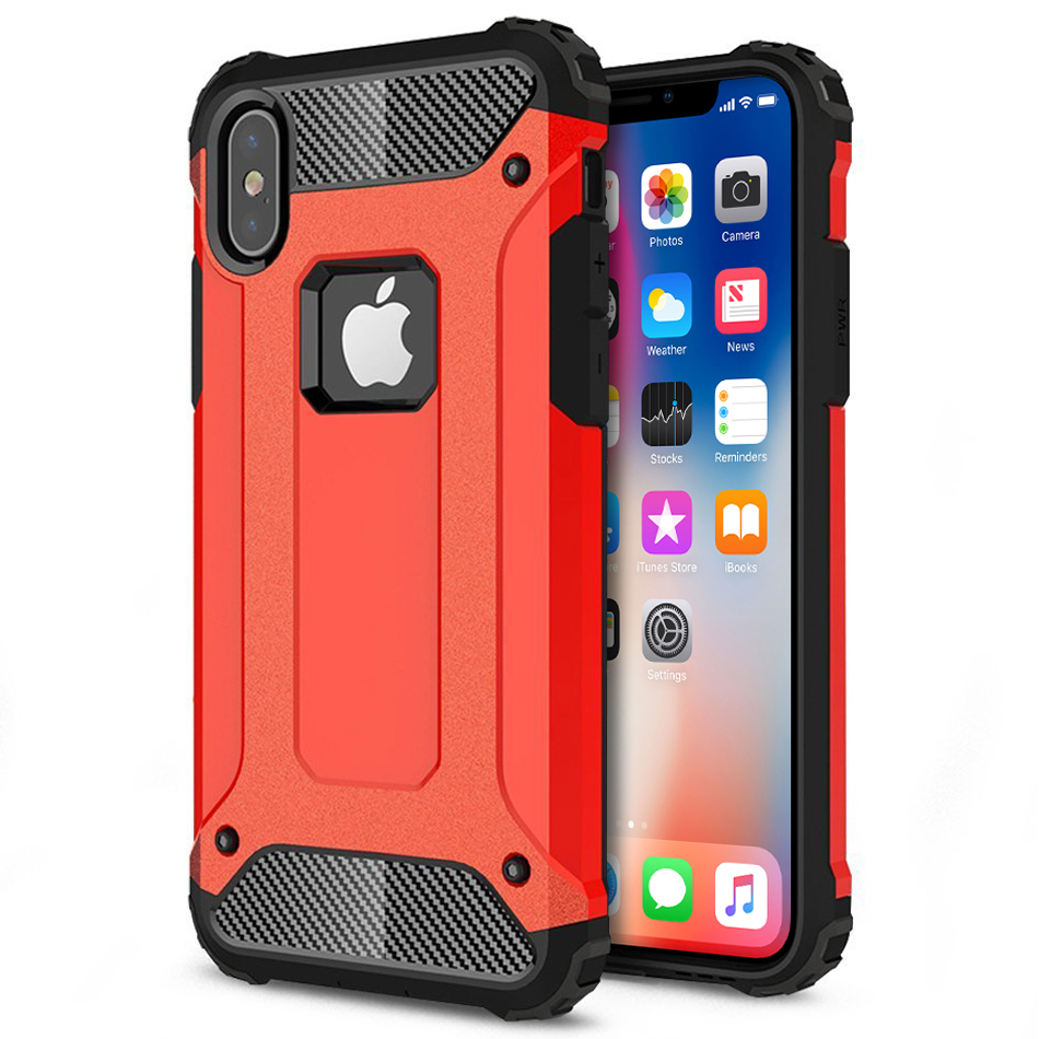Military Defender Shockproof Case Apple Iphone X Red