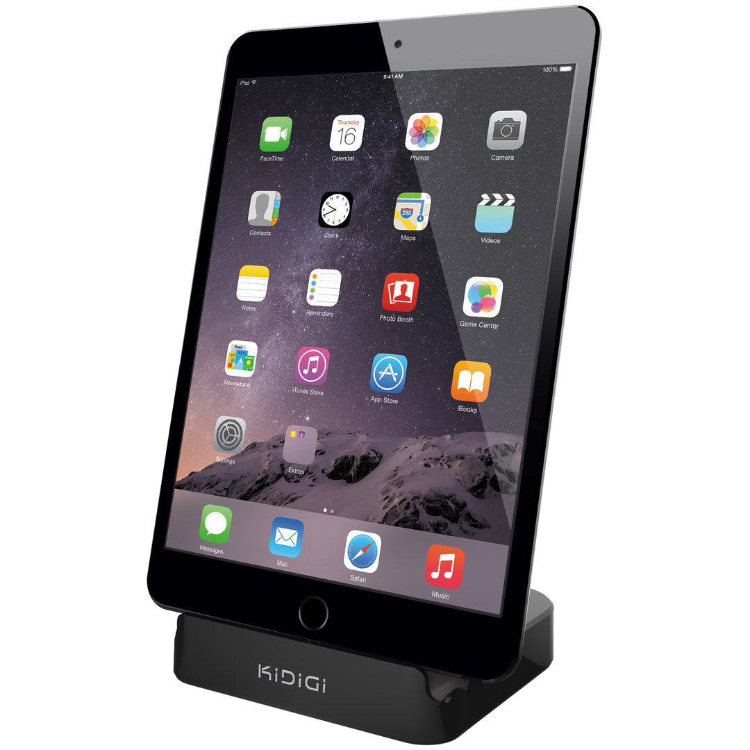 kidigi 2 4a charge sync dock apple ipad mini black. Black Bedroom Furniture Sets. Home Design Ideas
