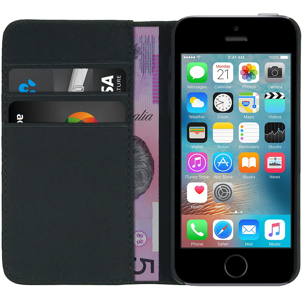 Leather Wallet Case For Apple Iphone Se 5s Black