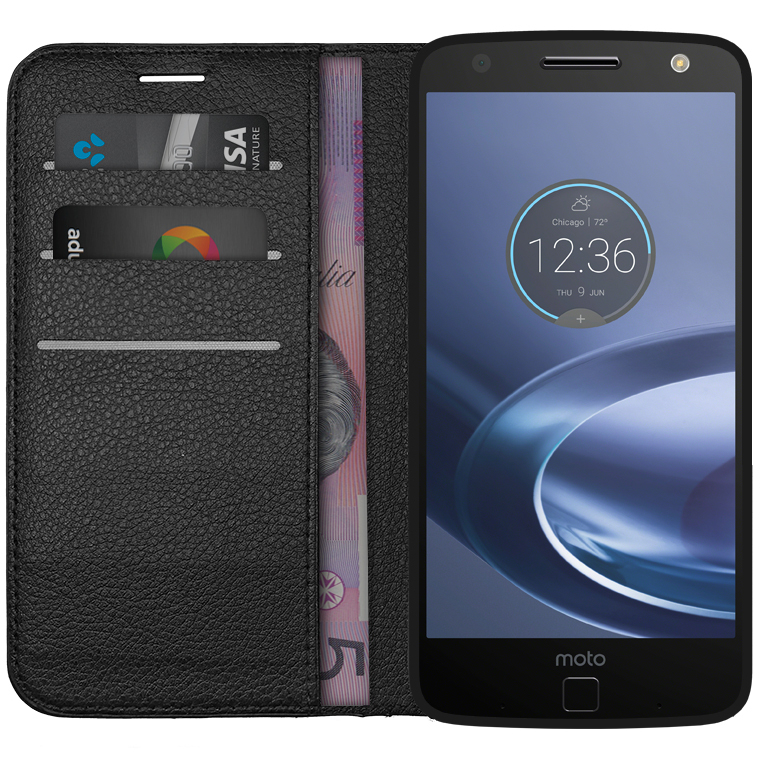 motorola moto z black. leather wallet case \u0026 card holder for motorola moto z force - black t