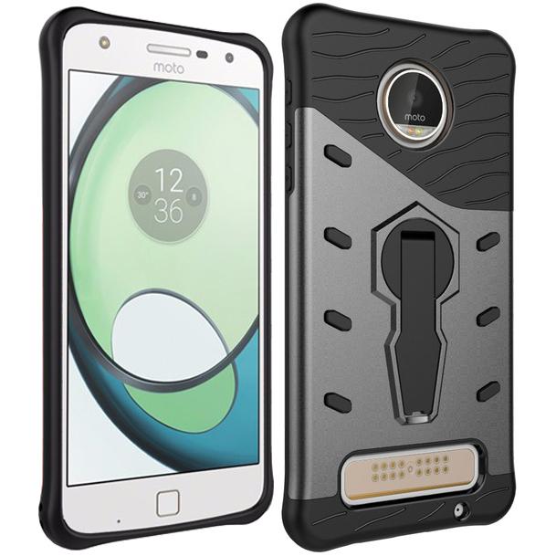 motorola flip phone silver. slim shield tough shockproof case for motorola moto z play - silver flip phone