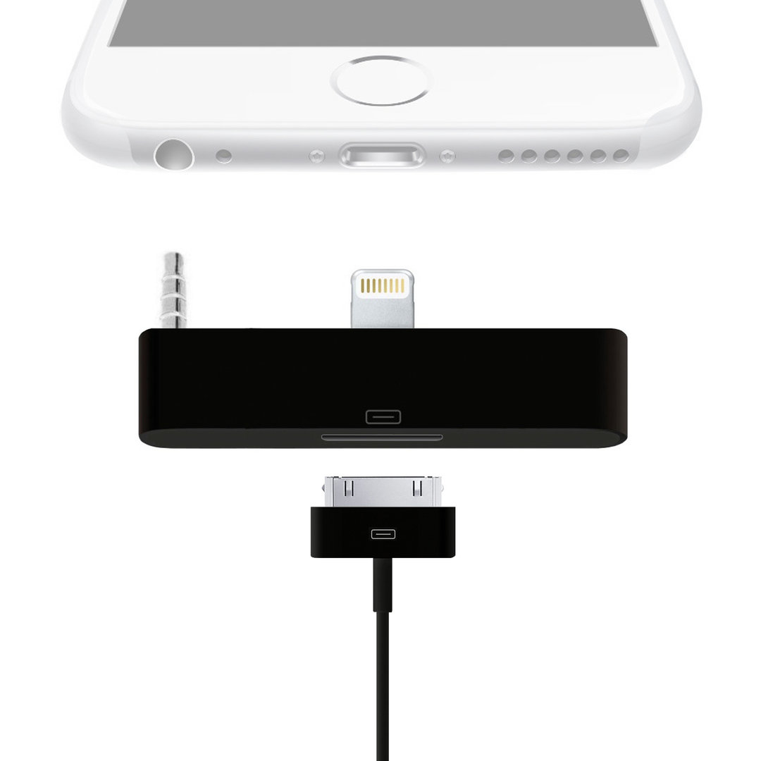 Lightning to 30-pin Audio Adapter for iPhone 6 Plus / 6s Plus - Black ...  sc 1 st  Gadgets 4 Geeks & Lightning to 30-pin Audio Adapter - Apple iPhone 6s Plus (Black) azcodes.com