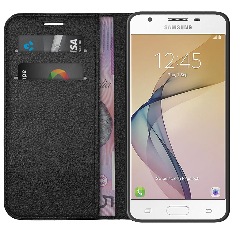 Leather Wallet Case Samsung Galaxy J5 Prime Black