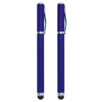 2-in-1 Capacitive Touch Screen Stylus & Ink Pen (2-Pack) - Blue