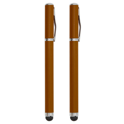 2-in-1 Capacitive Touch Screen Stylus & Ink Pen (2-Pack) - Orange
