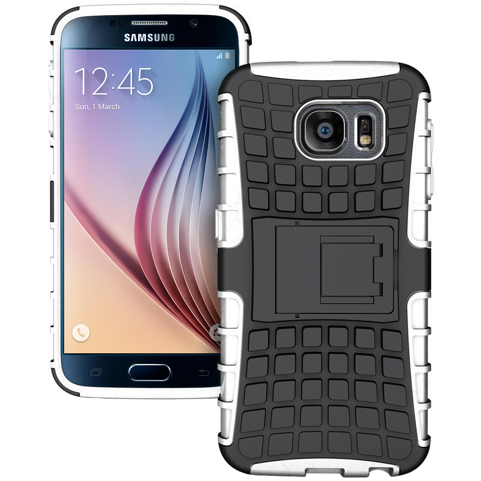 Dual Layer Rugged Tough Shockproof Case For Samsung Galaxy S6   White