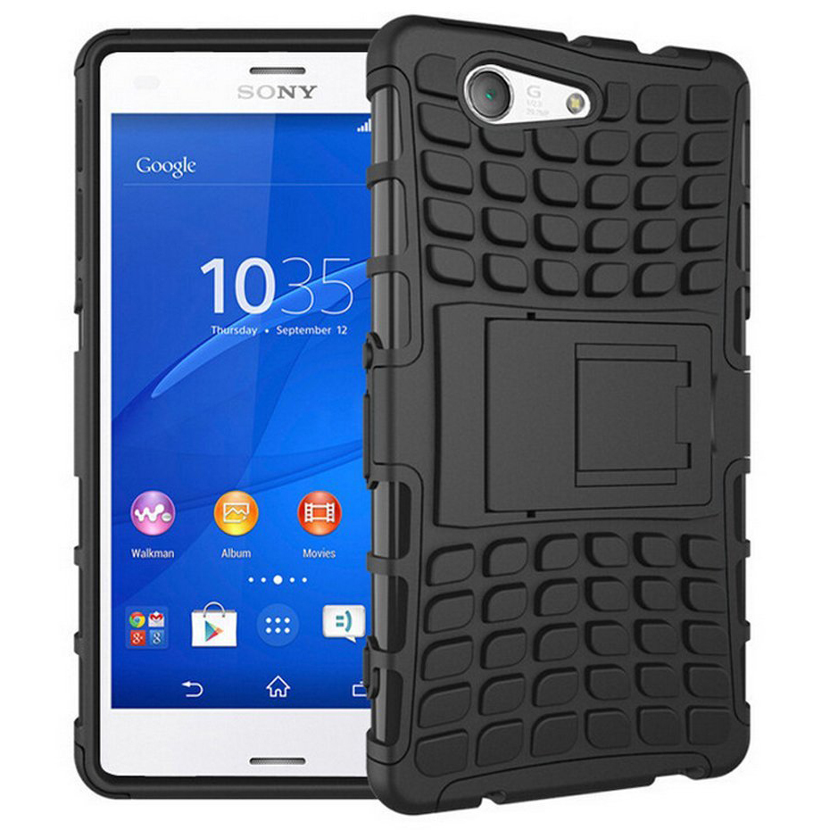 rugged tough shockproof case sony xperia z3 compact black. Black Bedroom Furniture Sets. Home Design Ideas