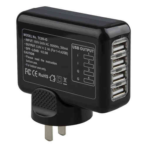 2.1A 4-Port USB World Travel Adapter & Wall Charger (EU/UK/US/AU)