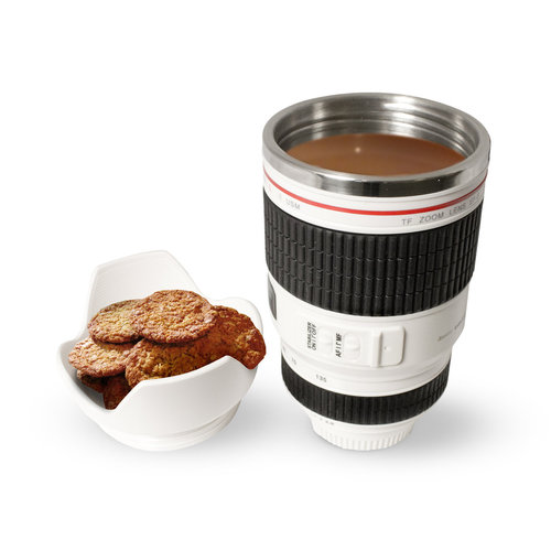 TwitFish 450ml Camera Lens Insulated Thermal Coffee Mug - White
