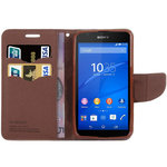 Textured Leather Wallet Case & Card Holder for Sony Xperia E4 - Black