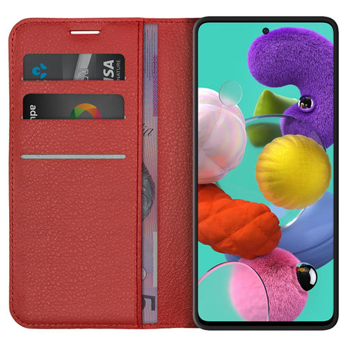 Leather Wallet Case & Card Holder Pouch for Samsung Galaxy A51 - Red