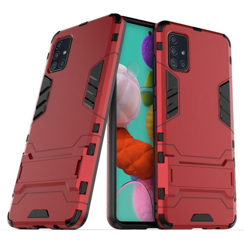 Slim Armour Tough Shockproof Case & Stand for Samsung Galaxy A51 - Red