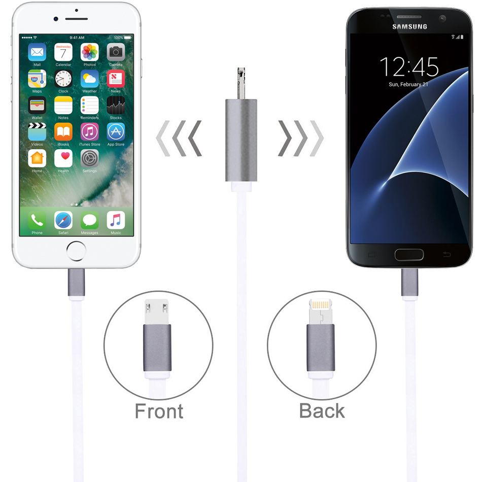 Dual USB 2in1 Charging Cable Car Phone Charger For iPhone 6 6S 7 7Plus 8 Android