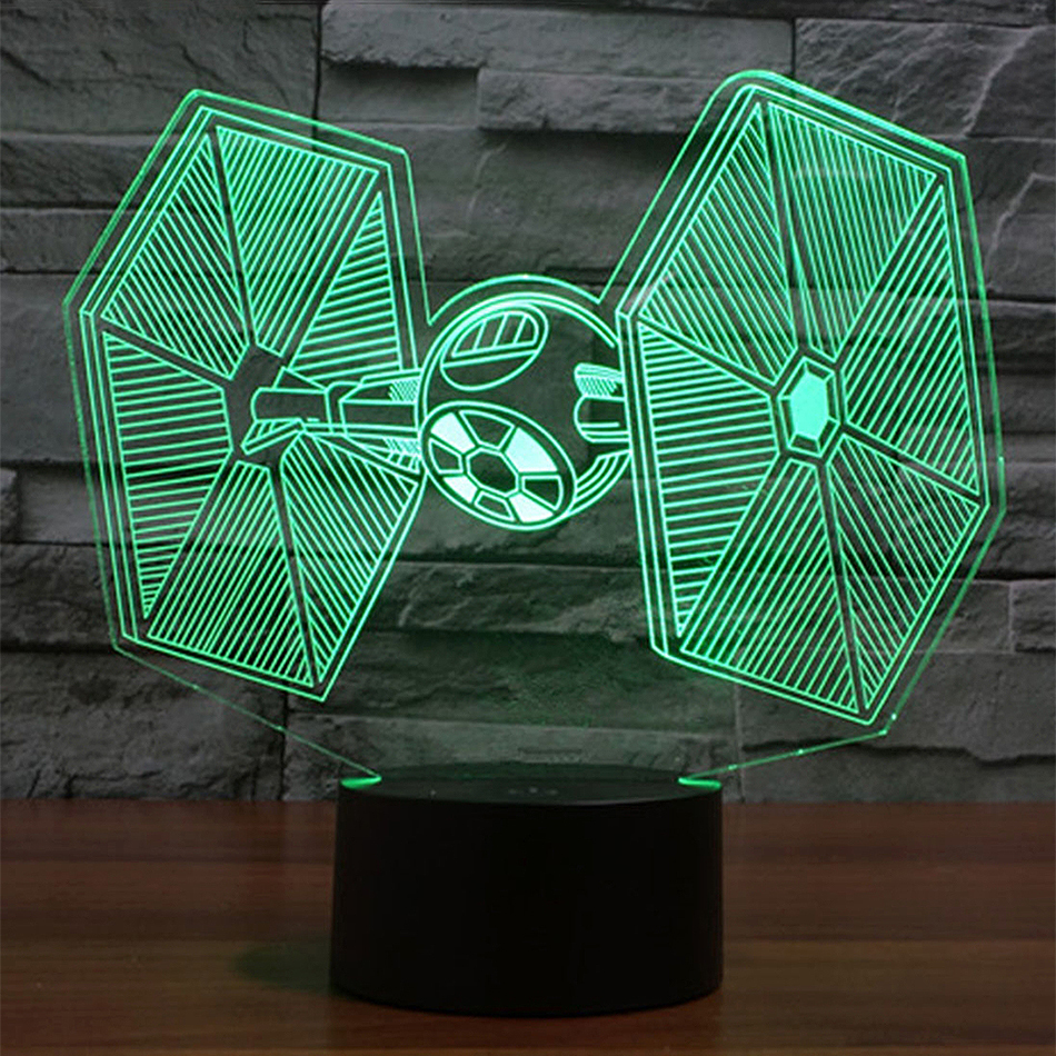 3d Star Wars Tie Fighter Led Desk Lamp Night Light Touch Switch