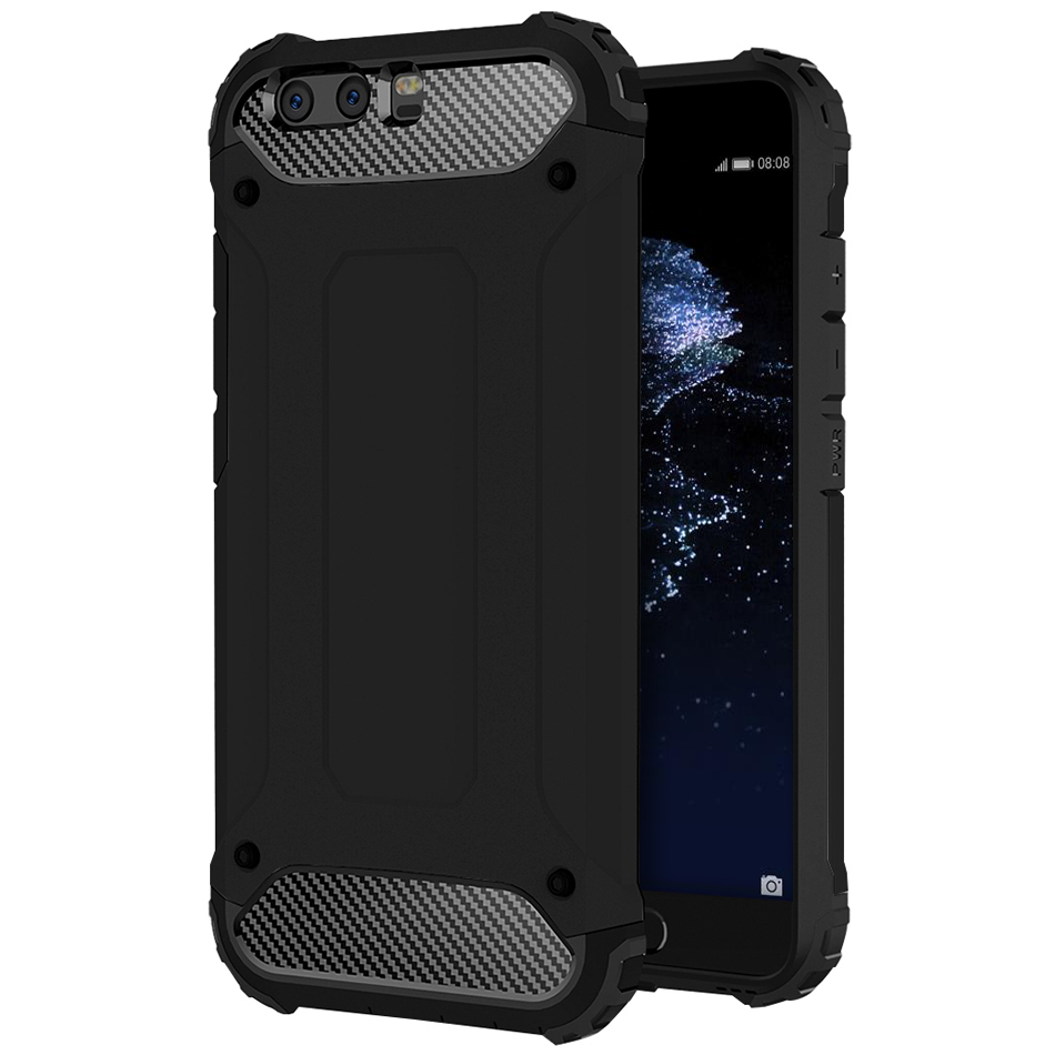 Military Defender Tough Shockproof Case for Huawei P10 Plus - Black