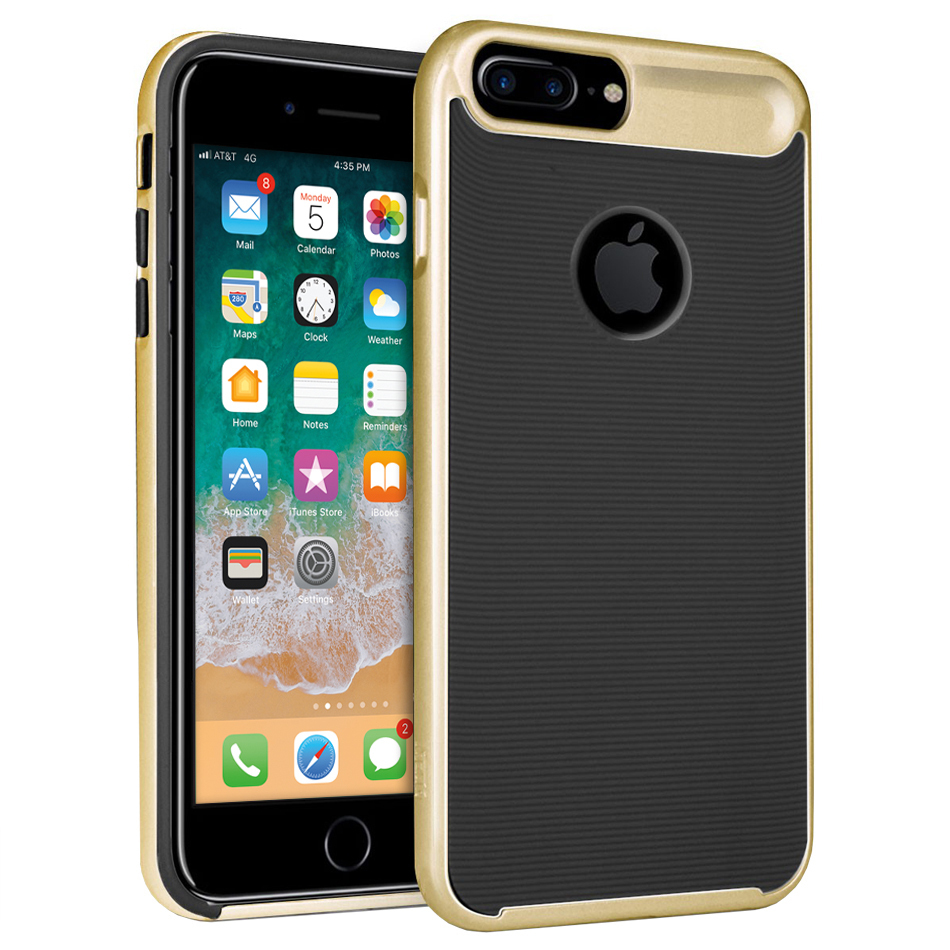 Orzly AirFrame Bumper Tough Case for Apple iPhone 8 Plus / 7 Plus - Gold