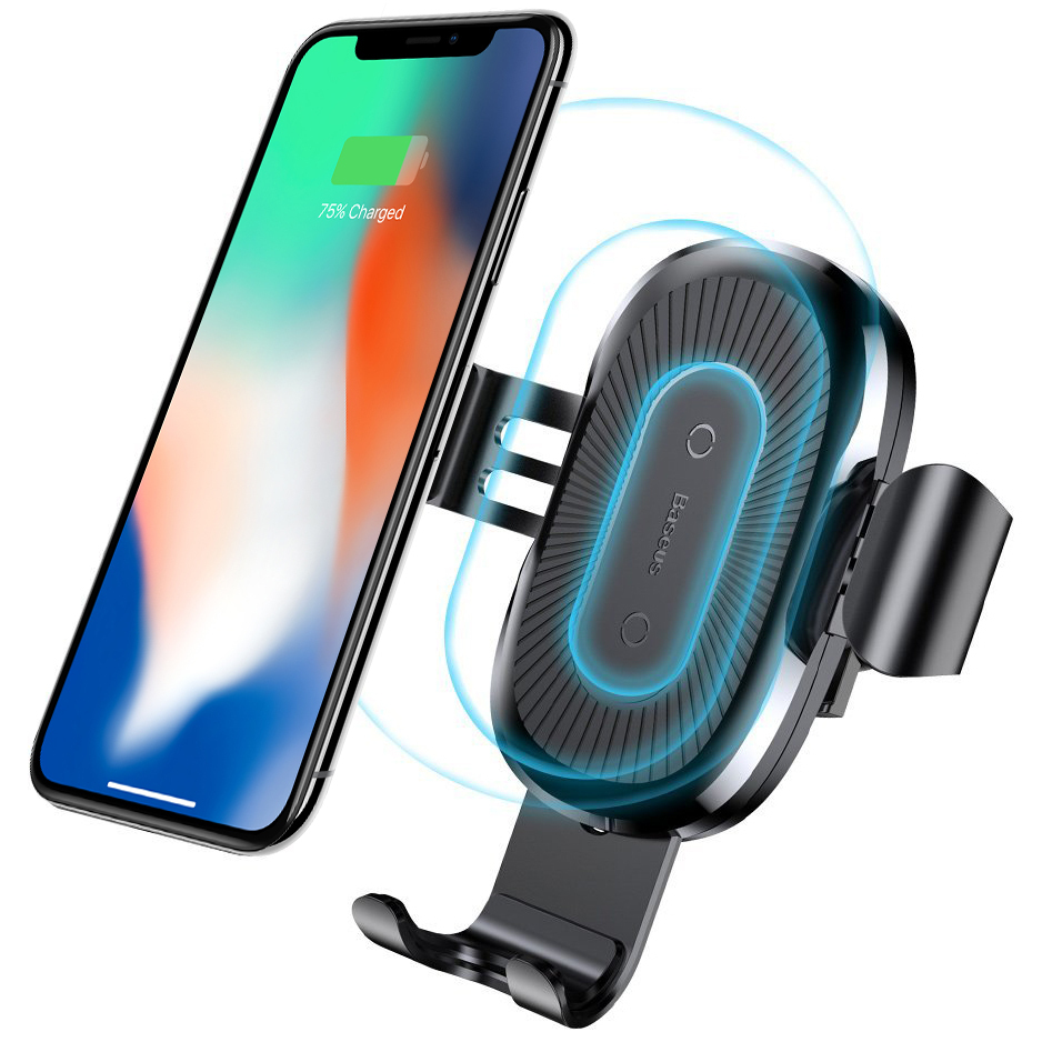 Baseus Wireless Car Mount Air Vent Mobile Phone Holder 10W Qi Fast Charger Black