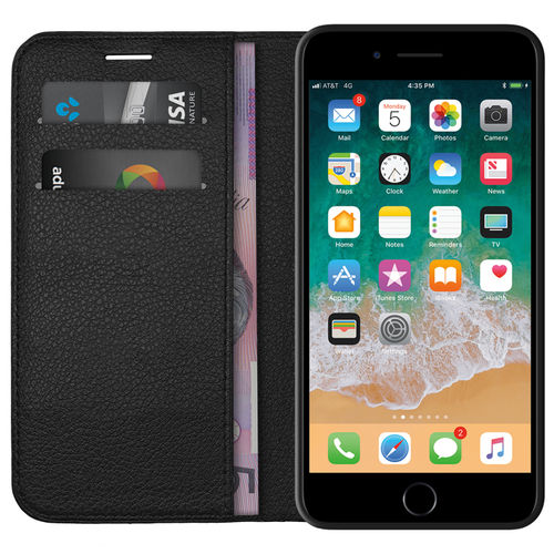 Leather Wallet Case & Card Holder Pouch for Apple iPhone 8 / 7 - Black