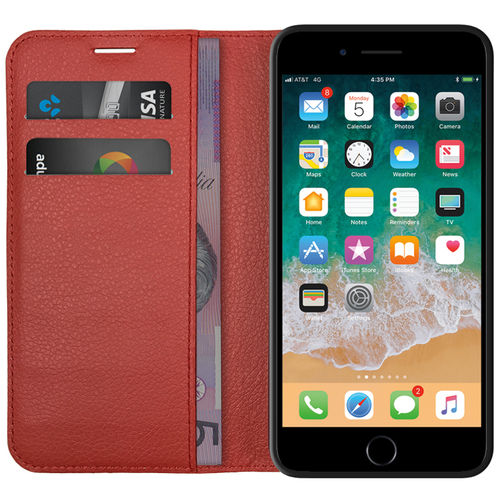 Leather Wallet Case & Card Holder Pouch for Apple iPhone 8 / 7 - Red