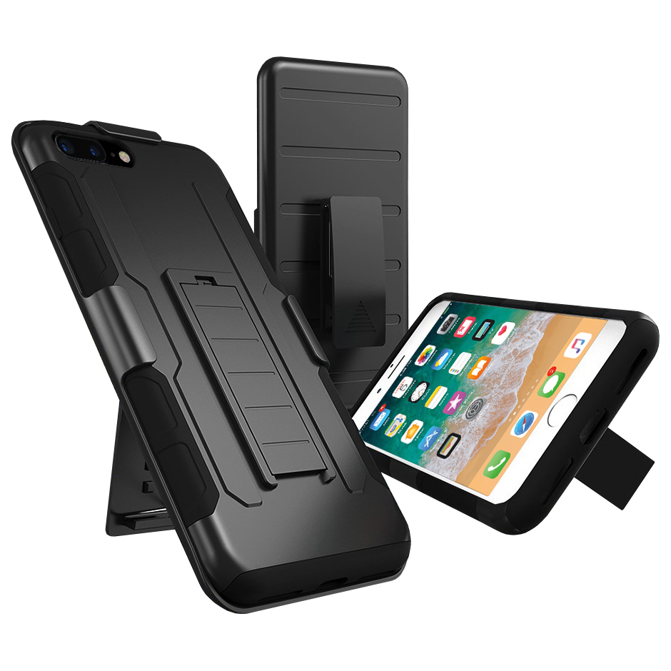 buy popular 3b754 a9ad7 Belt Clip Holster Case for Apple iPhone 8 Plus / 7 Plus (Black)