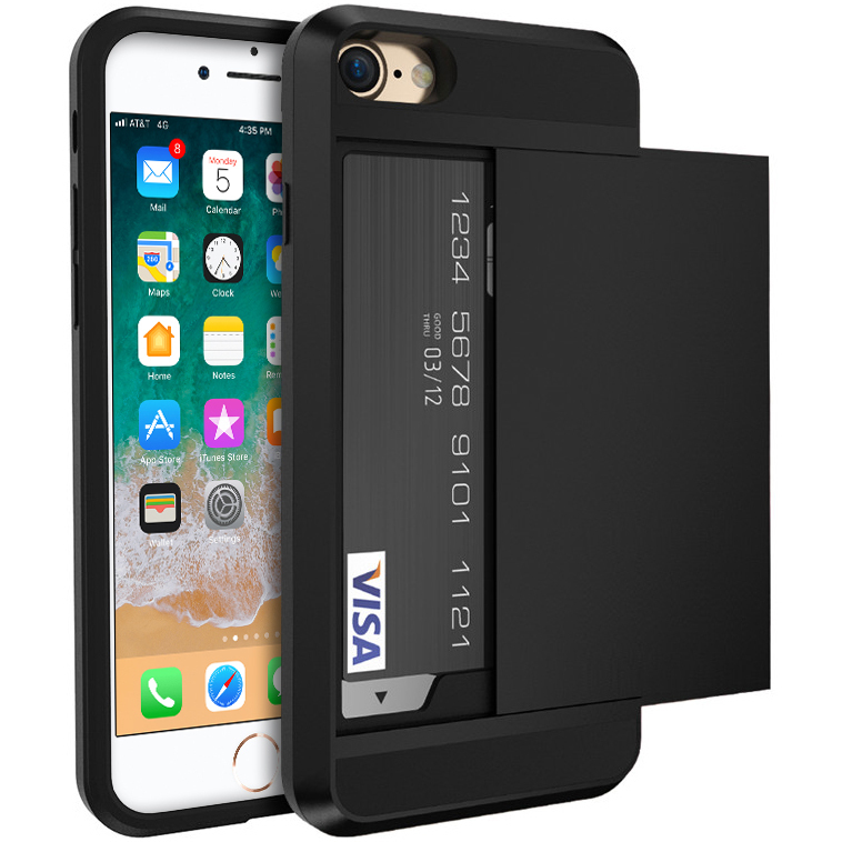 tough armour card holder case apple iphone 8 7 black. Black Bedroom Furniture Sets. Home Design Ideas