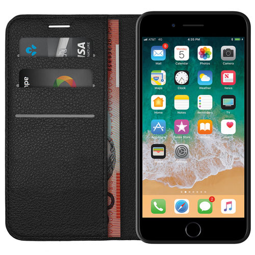 Leather Wallet Card Case for Apple iPhone 8 Plus / 7 Plus - Black