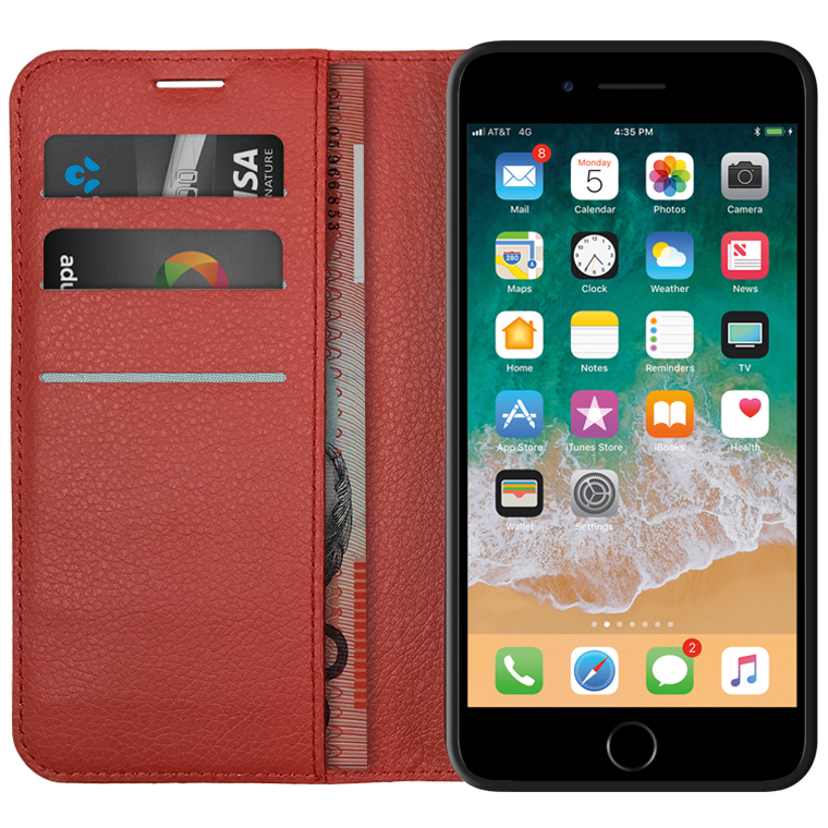 new styles a678c 1e8f1 Leather Wallet Case - Apple iPhone 8 Plus / 7 Plus (Red)