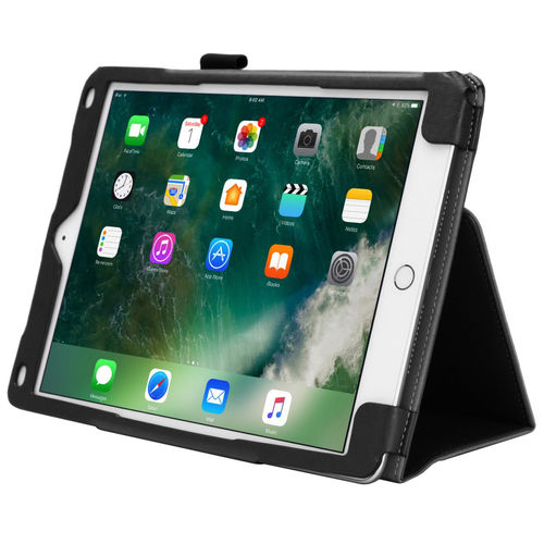 Folio Leather Case Stand for Apple iPad 9.7 Inch (2018 / 2017) - Black