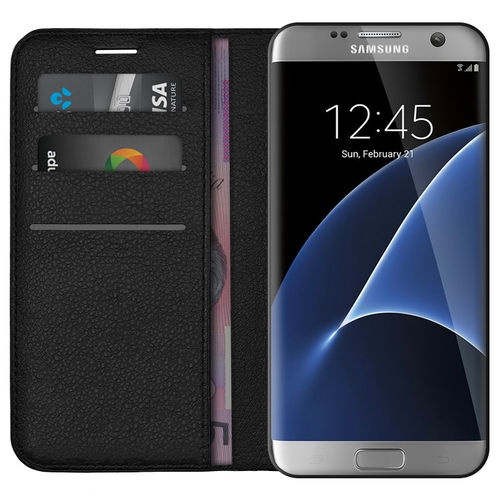 Leather Wallet Case & Card Holder for Samsung Galaxy S7 Edge - Black