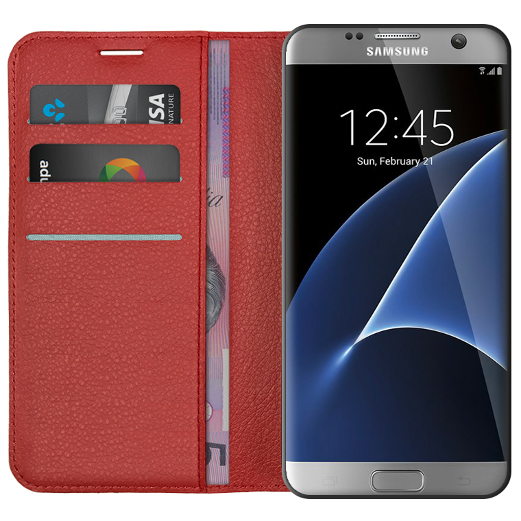 new style 36602 36988 Leather Wallet Case for Samsung Galaxy S7 Edge (Red)