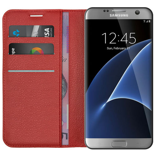 Leather Wallet Case & Card Holder for Samsung Galaxy S7 Edge - Red