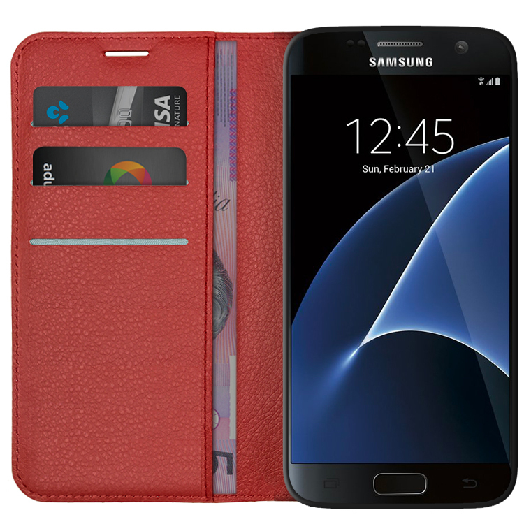 new concept 1ce63 6f144 Leather Wallet Case for Samsung Galaxy S7 (Red)