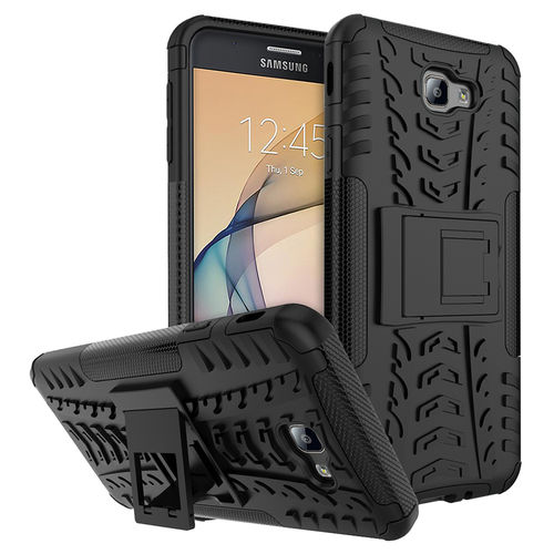 Dual Layer Rugged Tough Case for Samsung Galaxy J7 Prime - Black